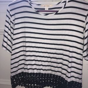 cropped stripped t shirt